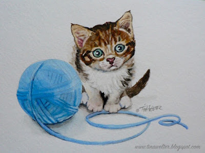 """But I'm So Little!"" 6""x 8"" watercolor on 140lb paper, ©2017 Tina M.Welter  Brown and white striped kitten with blue ball of yarn."