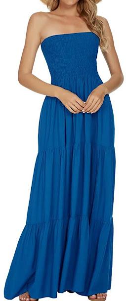 Best Blue Strapless Maxi Dresses