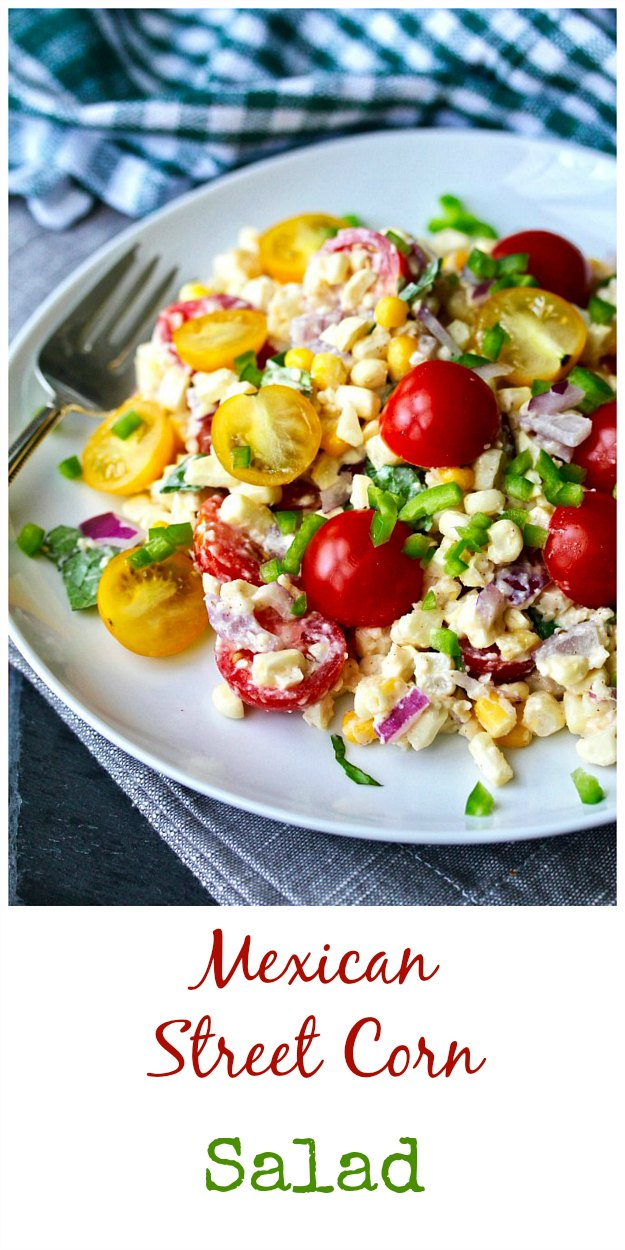 Mexican Street corn salad with tomatoes and red onions. This Mexican Street Corn Salad takes the flavors from the grilled corn slathered in a mixture of mayonnaise, cotija cheese, chili, and lime (elotes) sold by street vendors in Mexico (and here in parts of Los Angeles) and incorporates them into a delicious salad. #salad #mexicanstreetcorn