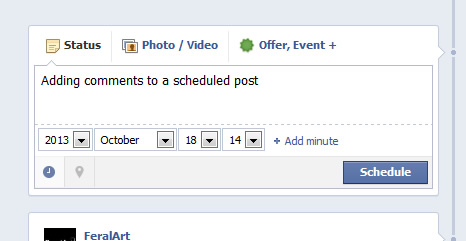 FeralArt Design: Adding a comment to a scheduled post on Facebook