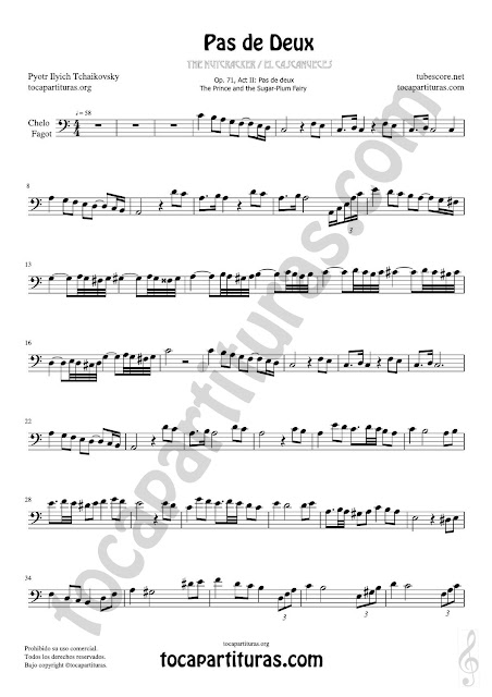 1  Violonchelo y Fagot Partitura de Pas de Deux Sheet Music for Cello and Bassoon Music Scores Tonalidad Fácil Do Mayor (C) PDF/MIDI Cello / Fagot
