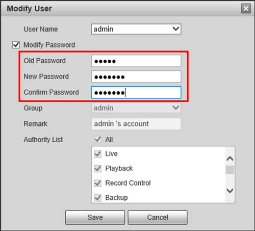 Dahua Default Password