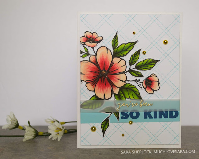 Fun Thank You card featuring the Criss Cross Background stamp set, and then Bouquet of Kindness stamp set - both from The Stamp Market.