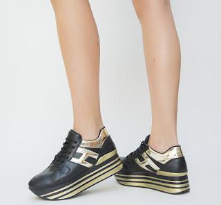 Pantofi Sport dama negri cu talpa inalta si insertii aurii