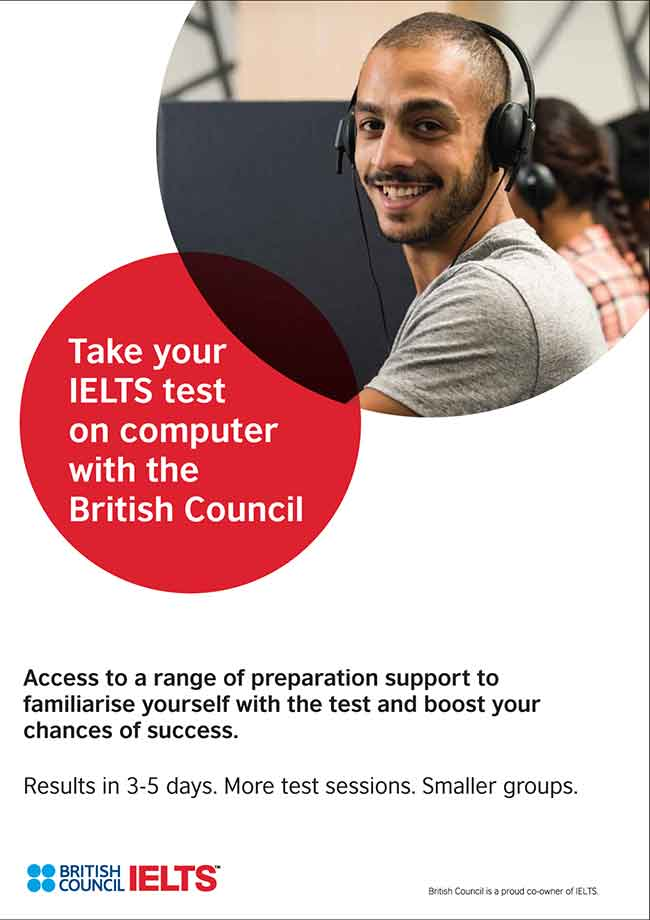 Take your IELTS test on computer with the British Council.