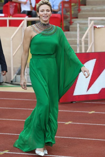 Princess Charlene wore Roland Mouret Henleigh one-shoulder crepe-jersey gown at Louis II Stadium, Dior earrings