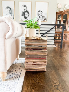 Stacked records as a side table