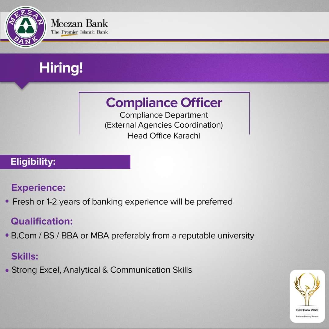 Meezan Bank Jobs 2021 For Compliance Officer  Batch 2021   Apply Online