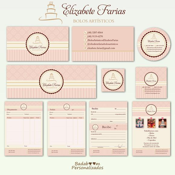 Elizabete Farias, Bolos Artísitcos, Identidade Visual, cartão de visita, capa facebook, perfil redes sociais, tags, etiquetas, talão, pedido, recibo, orçamento, flyer, confeitaria
