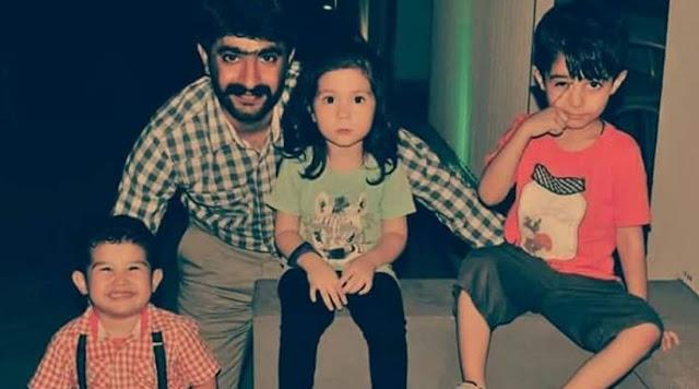 Captain Qadeer with his children