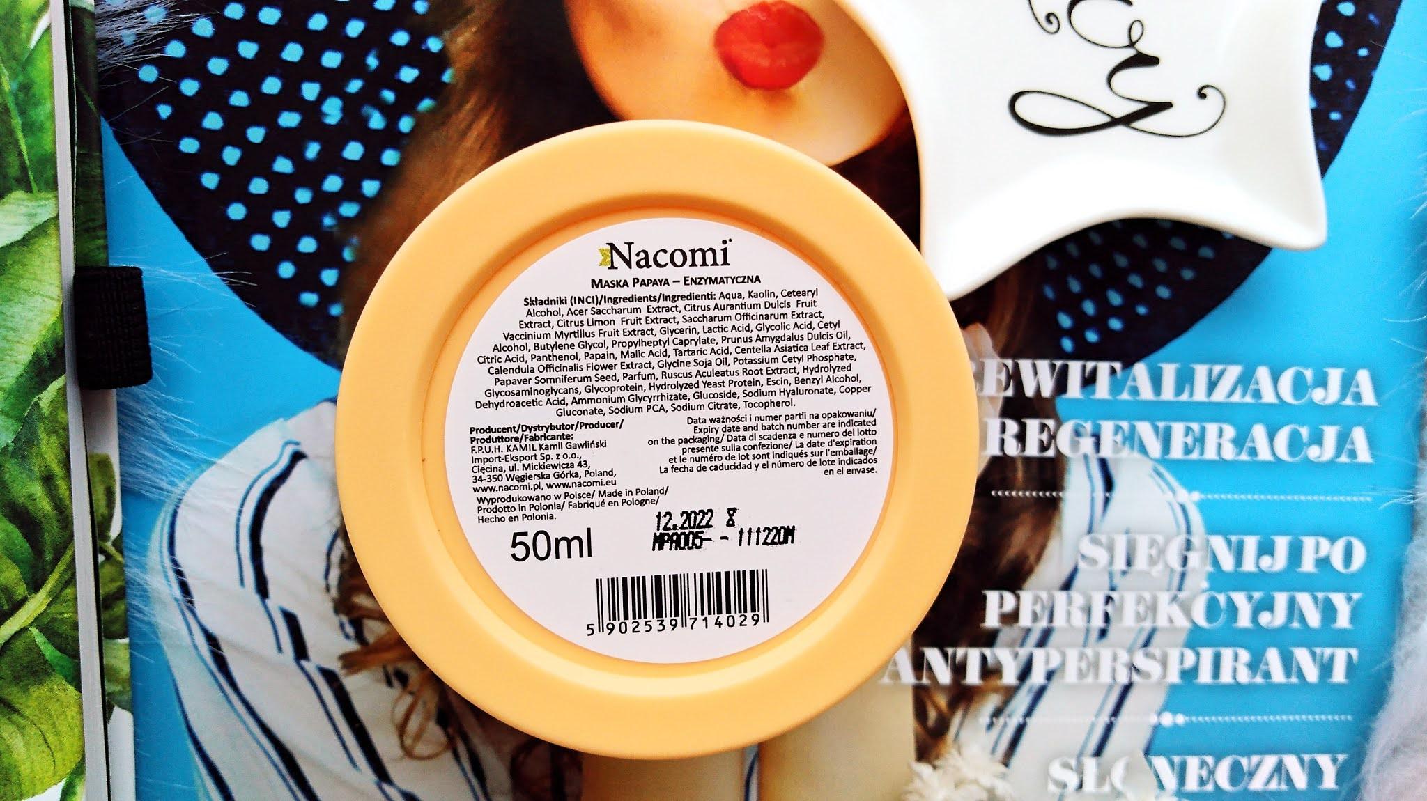 nacomi maska enzymatyczna papaja, nacomi maska enzymatyczna blog kosmetyczny