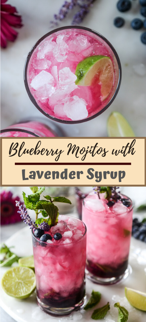 Blueberry Mojitos with Lavender Syrup #healthydrink #easyrecipe #cocktail #smoothie