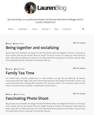 Lauren - Template Blog Simple Satu Kolom