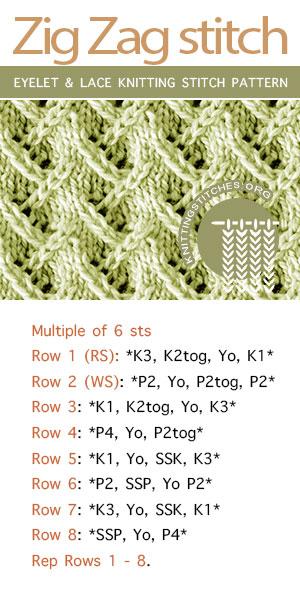 Knitting instructions for Zig Zag stitch pattern