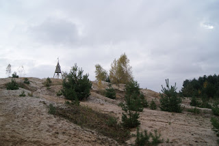 Die Sandebene des Höller Horns. Hier wachsen vereinzelt Tannen, im Hintergrund steht der Holzturm