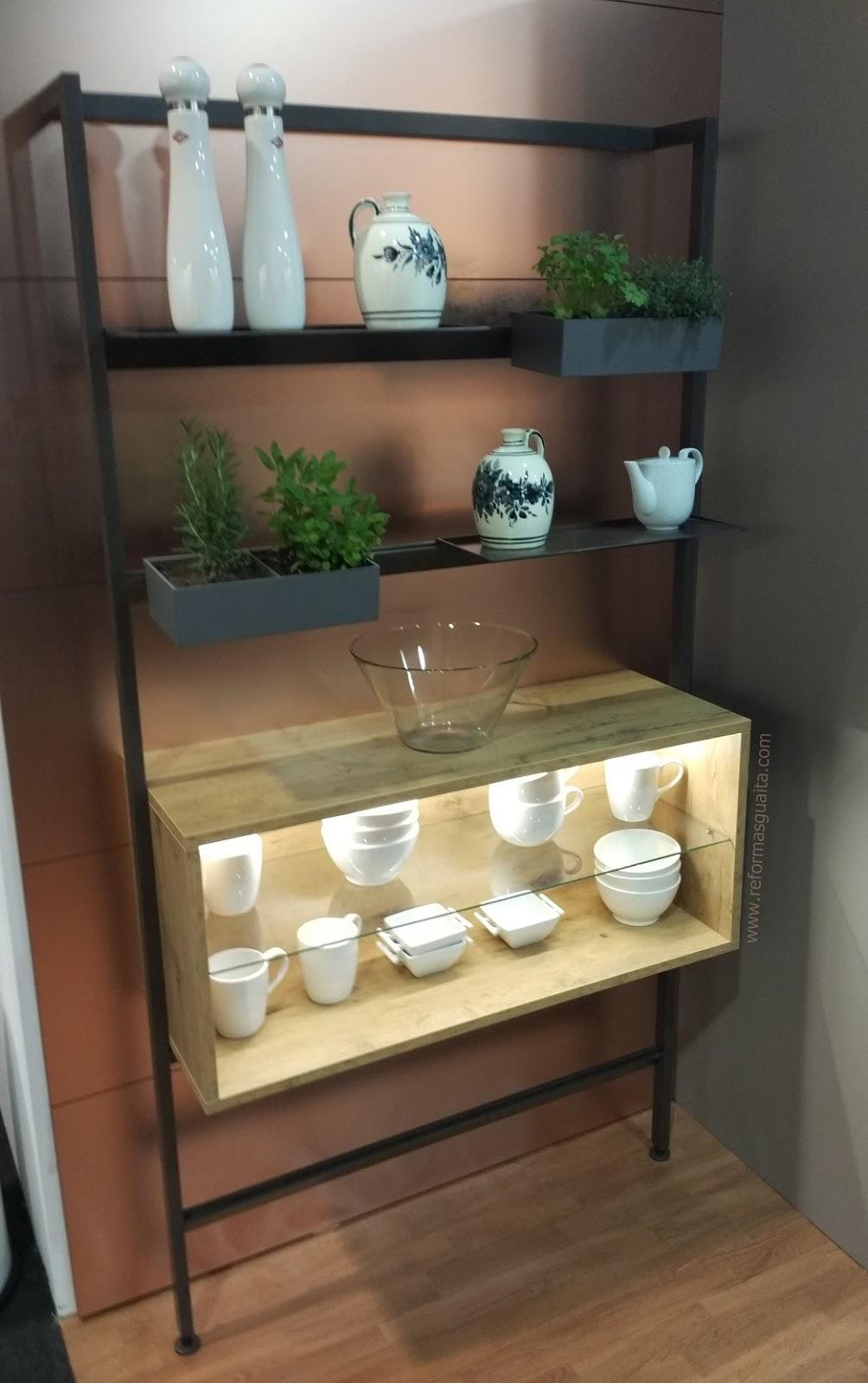 estructura estante metal industrial cocina DAMARIS L con jardin vertical para hierbas aromáticas