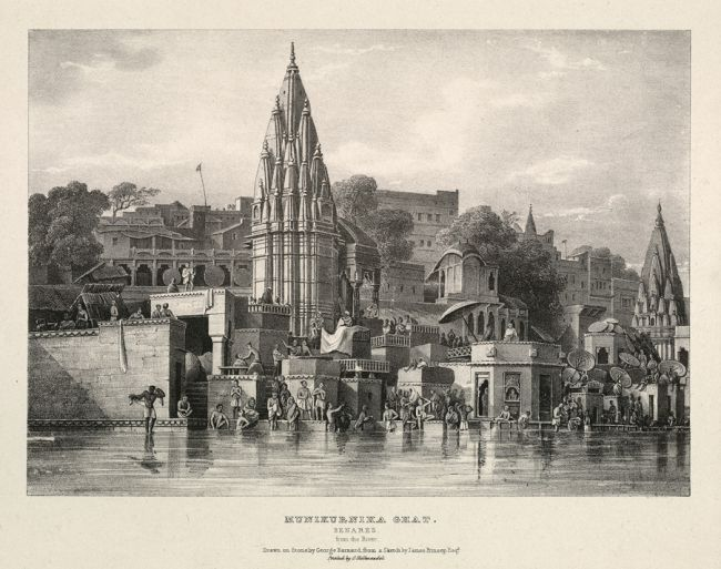 Sketch of Manikarnika Ghat, The Burning Ghat by James Princep, showing Ratneshwar Mahadev Temple