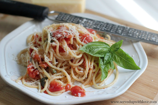 Pasta with Fresh Tomatoes recipe from Served Up With Love