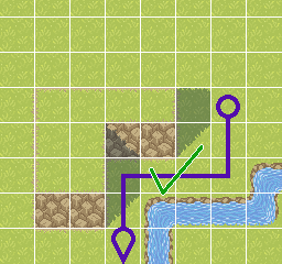 A screenshot of a top-down level, showing a path across tiles.
