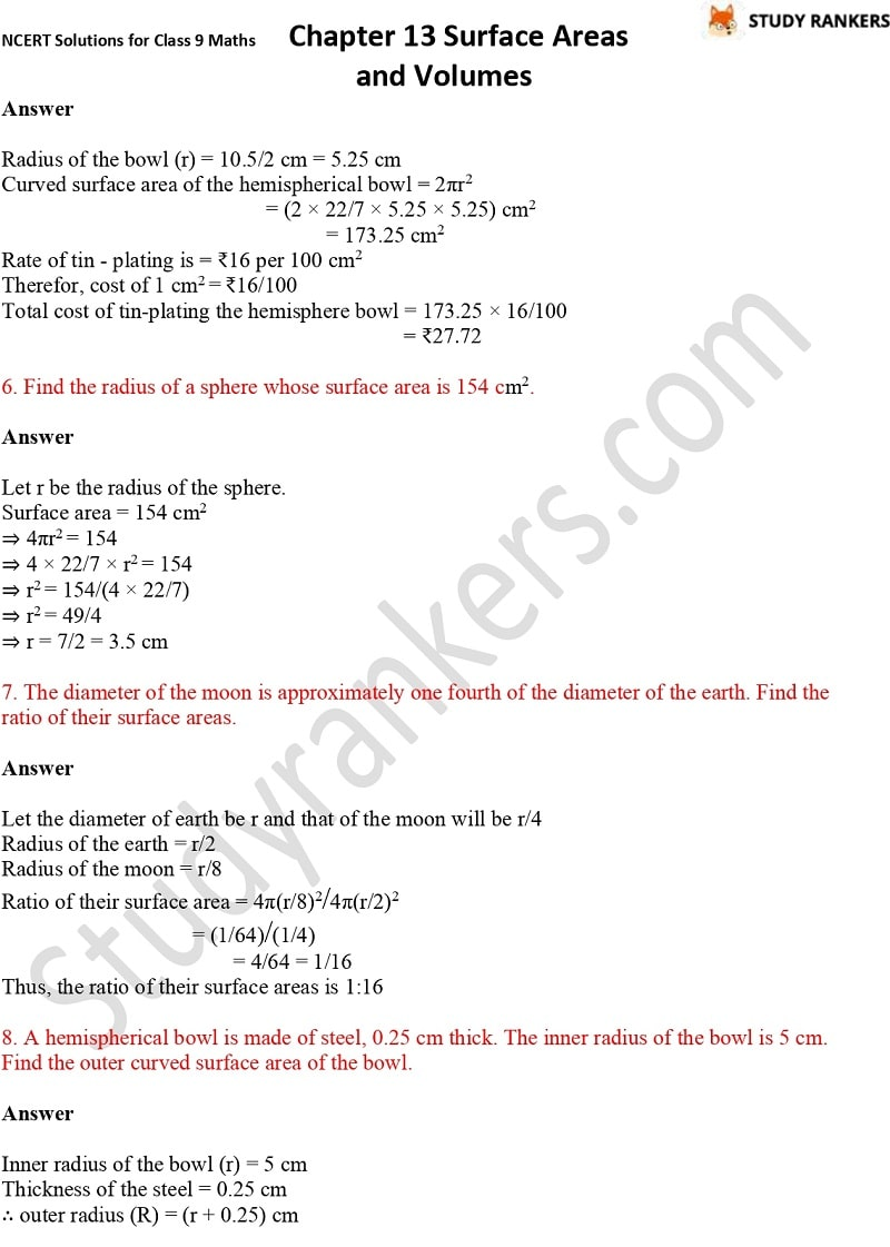 NCERT Solutions for Class 9 Maths Chapter 13 Surface Areas and Volumes Part 13