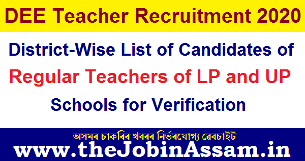 District-Wise List of Candidates of Regular Teachers of LP and UP Schools for Screening/ Verification