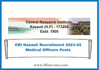 CRI Kasauli Recruitment 2021-02 Medical Officers Posts