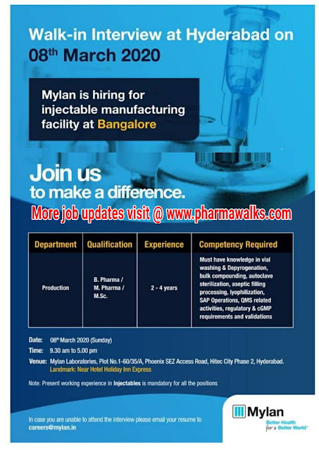 Mylan Laboratories walk-in interview for Production department on 8th March 2020
