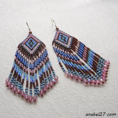 купить большие серьги из бисера оригинальные этно украшения ру