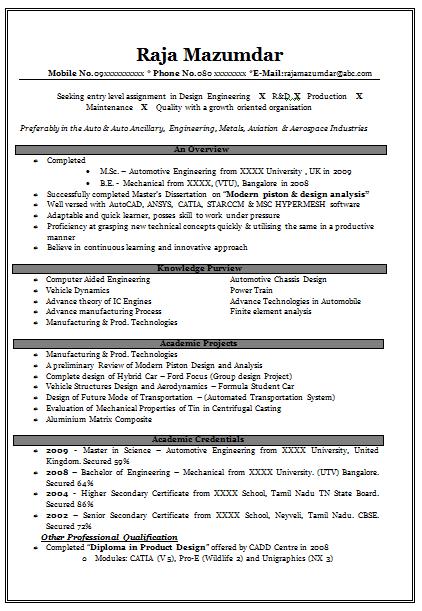 Cv sample for mechanical engineer fresher