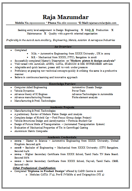 best sample resume for freshers engineers - Design Mechanical Engineer Sample Resume