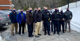 numerous Franklin Police Department officers sworn in as Deputy Sheriffs in Norfolk County