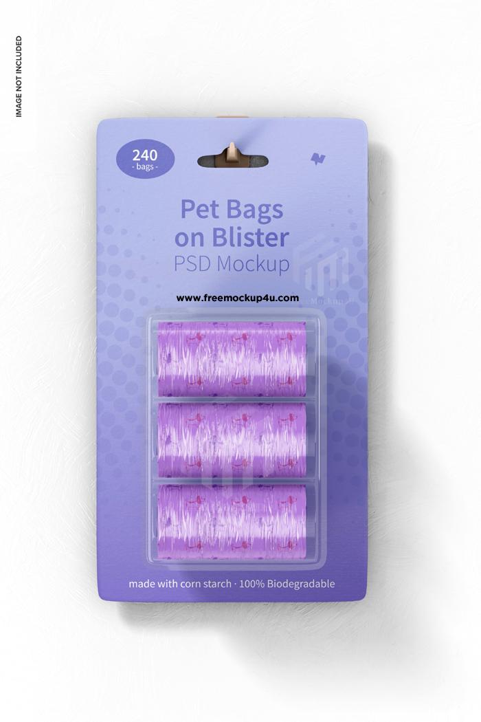 Pet Bags Blister Mockup Hanging Wall Psd Design