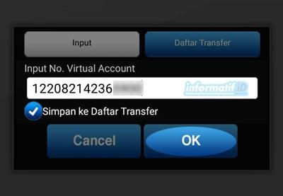 Transfer Virtual Account BCA Mobile - Masukan No. Virtual Account