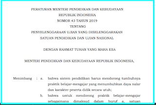 permendikbud nomor 43 tahun 2019 usbn dihapus mulai 2020
