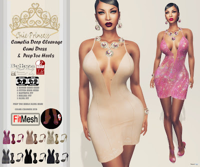 Camelia Deep Cleavage Cami Dress & Peep Toe Heels Group Gift by Chic Princess