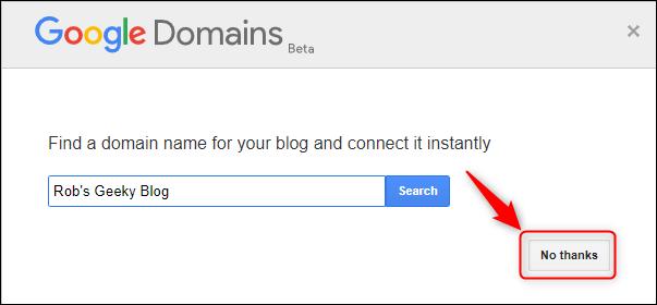 """لوحة Google Domains ، مع تمييز """"لا شكرًا""""."""