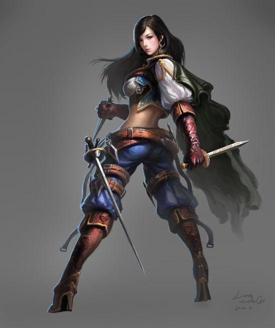 Liang Xing ilustrações fantasia games Estudos de personagens