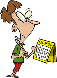 Clipart Image of a Woman Looking at a Calendar