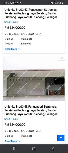 Lot Kedai Untuk Dilelong RM324K di Puchong, Selangor