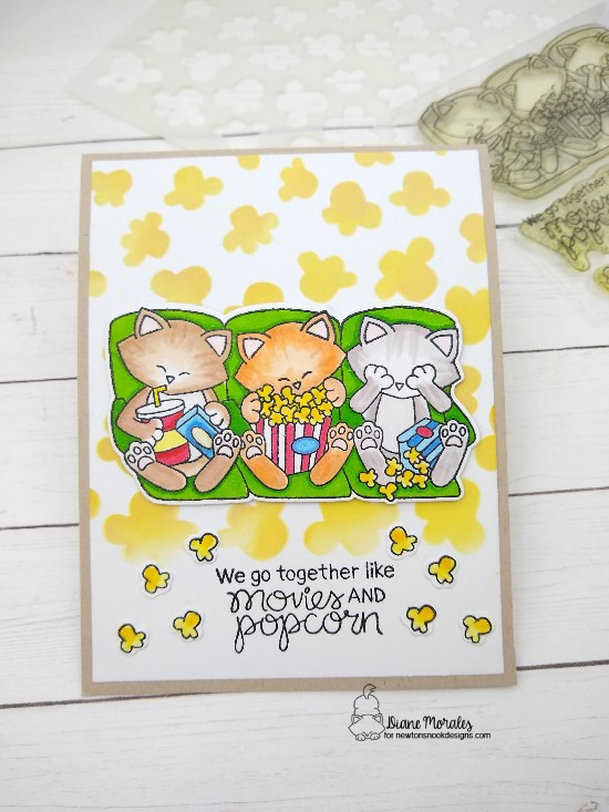 We go together like movies and popcorn by Diane features Newton's Movie Night and Popcorn by Newton's Nook Designs; #newtonsnook, #inkypaws, #catcards, #cardmaking