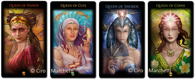 Legacy of the Divine Tarot Queen of Wands, Queen Of Cups, Queen of Swords, Queen of Pentacles