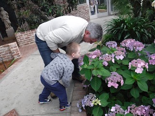 A grandfather and his young grandson lean over a bush to smell purple flowers at Lauritzen Gardens