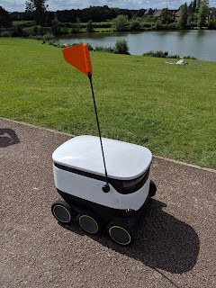 A Starship robot delivering our lunch in Milton Keynes