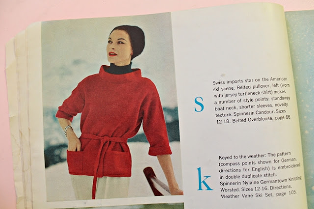 free vintage 1950s oversized belted blouse knitting pattern with a standing collar