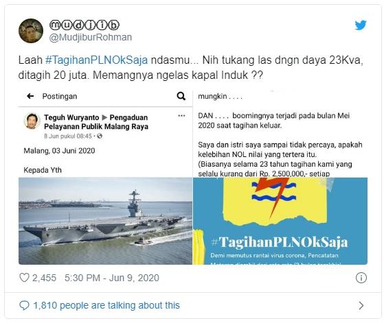 Viral Tukang Las Ditagih Bayar Listrik Sampai Rp20 Juta, Netizen : Ngelas Kapal Induk?