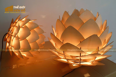 Thế Giới Đèn Gỗ - Đèn gỗ trang trí Atiso cánh nhọn