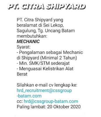 Kerjabatam.com PENGUMUMAN RESMI LOKER PT. Citra Shipyard