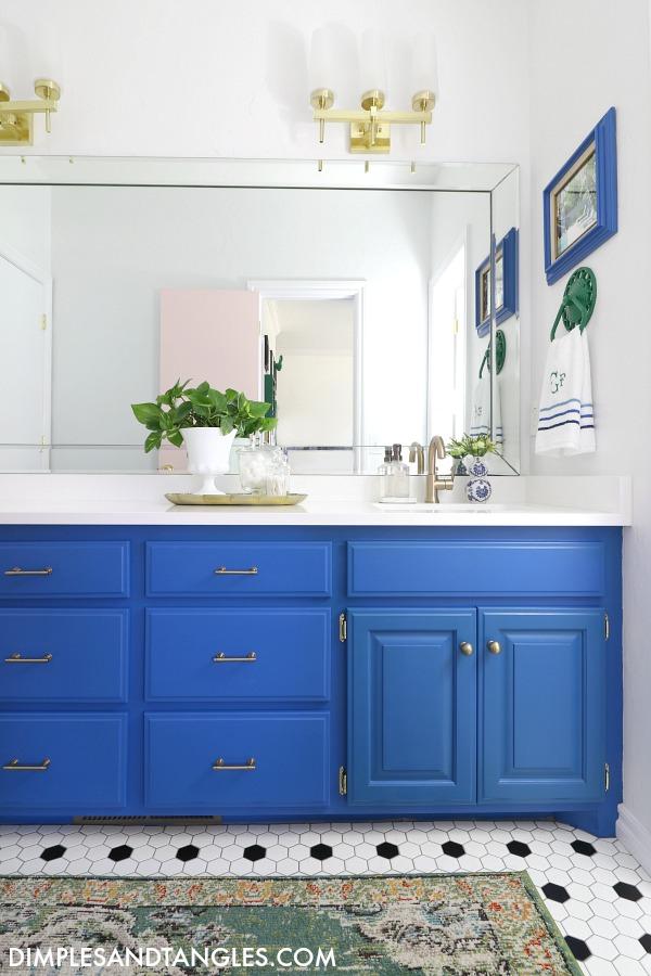 brass hardware, delta trinsic faucet, bathroom white walls, safavieh green rug
