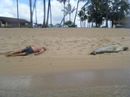 passed out on the beach