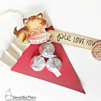 Pie Love You Treats by Samantha Mann for Newton's Nook Designs, Sweet Treats Blog Hop, Valentine's Day, valentines, heat embossing, Distress Inks, #newtonsnook #valentinesday #pies #pie #sweettreatsbloghop #treatbox